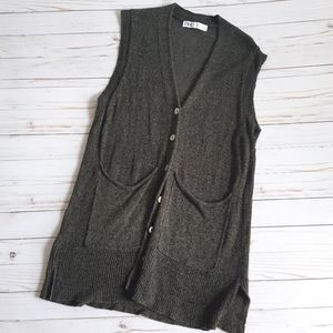 ZARA Knit Long Length Button Up Brown Cardigan